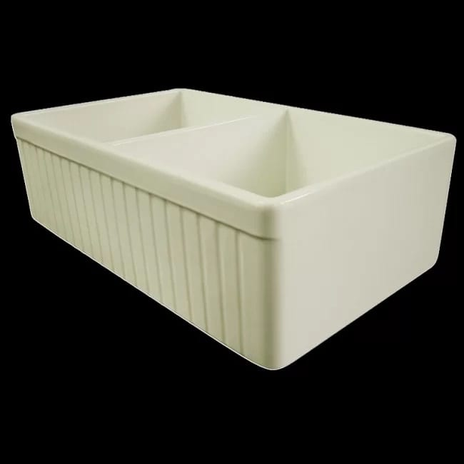 Alfi Brand Double Bowl Fluted Farmhouse Kitchen Sink 33 Inch