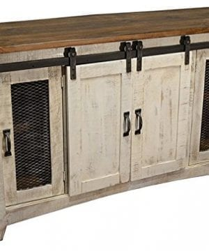 Anton Distressed White Sliding Barn Door Farmhouse 60 Inch Tv Stand With Brown Wood Top And Hand Forged Custom Handles Fully Assembled Shabby Chic Console 0 300x360