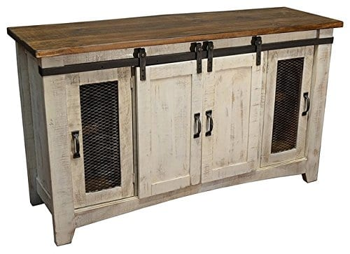 Anton Distressed White Sliding Barn Door Farmhouse 60 Inch Tv Stand With Brown Wood Top And Hand Forged Custom Handles Fully Assembled Shabby Chic Console 0