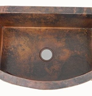 Apron Front Farmhouse Kitchen Single Bowl Mexican Hand Hammered Copper Sink 0 1 300x316