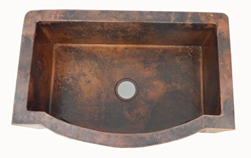 Apron Front Farmhouse Kitchen Single Bowl Mexican Hand Hammered Copper Sink 0 1