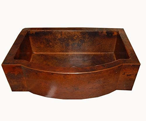 Apron Front Farmhouse Kitchen Single Bowl Mexican Hand Hammered Copper Sink 0