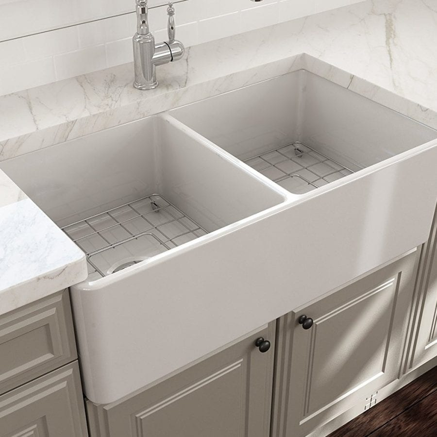 BOCCHI Classico Farmhouse Apron Front Fireclay 33 Inch Double Bowl Sink