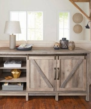 Better Homes And Gardens Modern Farmhouse TV StandEntertainment Center For TVs Up To 60 Rustic Gray Finish 0 300x360