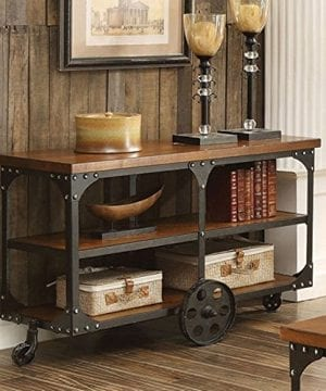 Coaster Furniture Industrial Sofa Table With Shelf And Casters 0 300x360