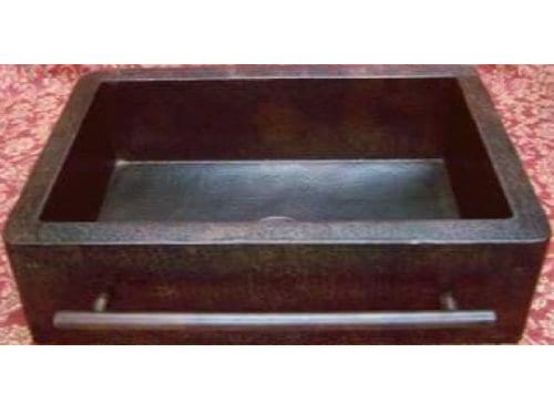 Farmhouse Apron Copper Sink With Integrated Towelbar Dark Large 36x22x9 0