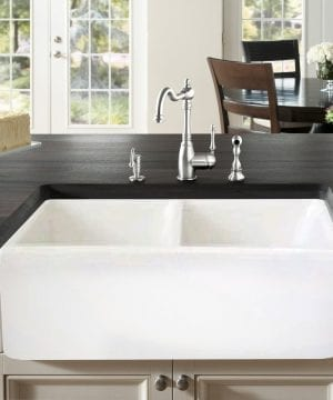 Farmhouse Kitchen Sink White – Double Bowl Fireclay with Apron Front 2