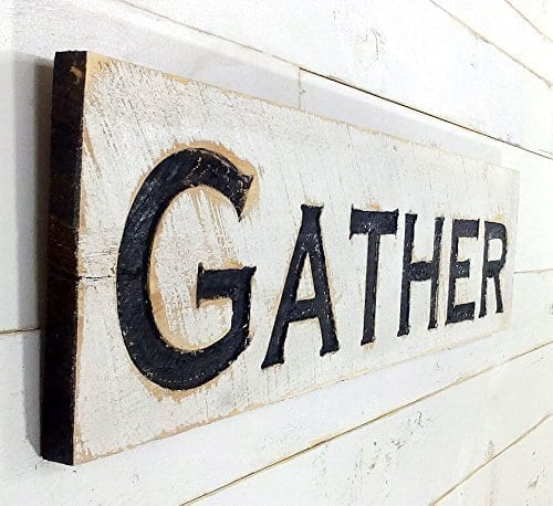 Gather Sign Horizontal Carved In A Cypress Board Rustic Distressed Kitchen Farmhouse Style Restaurant Cafe Wooden Wood Wall Art Decoration 0