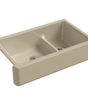 KOHLER Haven Smart Divide Self Trimming Under Mount Apron Front Double Bowl Kitchen Sink With Tall Apron 35 12 Inch X 21 916 Inch X 9 58 Inch 0 0 300x360
