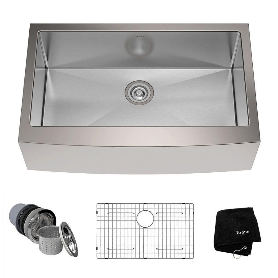 Kraus 33-inch Farmhouse Apron Single Bowl 16-gauge Stainless Steel Kitchen Sink