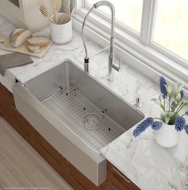 Kraus 36 Farmhouse Apron Single Bowl 16 Gauge Stainless Steel Kitchen Sink