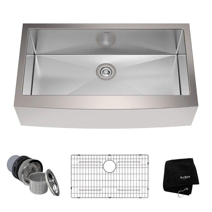 Kraus KHF200-36 36-inch Farmhouse Apron Single Bowl 16-gauge Stainless Steel Kitchen Sink