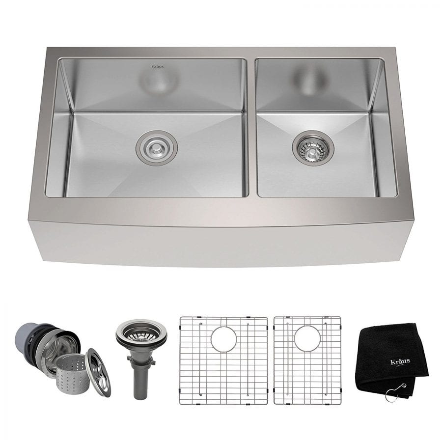Kraus KHF203-36 36 inch Farmhouse Apron 60-40 Double Bowl 16 gauge Stainless Steel Kitchen Sink