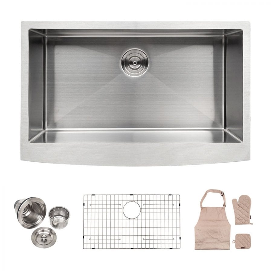 LORDEAR Commercial 33 Inch 16 Gauge 10 Inch Deep Drop In Stainless Steel Undermout Single Bowl Farmhouse Apron Front Kitchen Sink