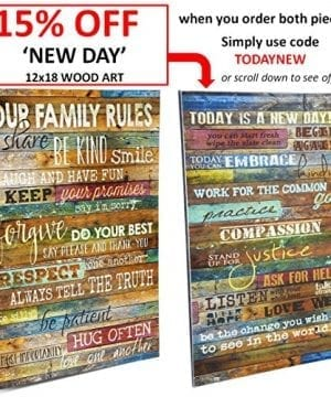 Marla Rae 12 Inch By 18 Inch Country Wood Our Family Rules Wall Art Sign Decor Brown 0 0 300x360