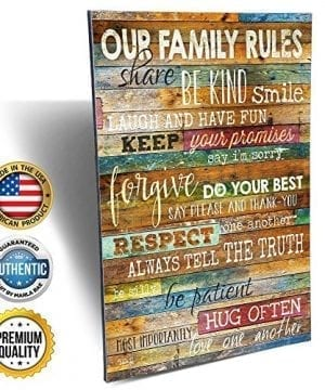 Marla Rae 12 Inch By 18 Inch Country Wood Our Family Rules Wall Art Sign Decor Brown 0 300x360