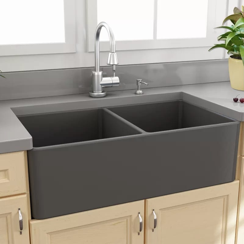 Nantucket Sinks 33 Inch Double Basin Farmhouse Sink