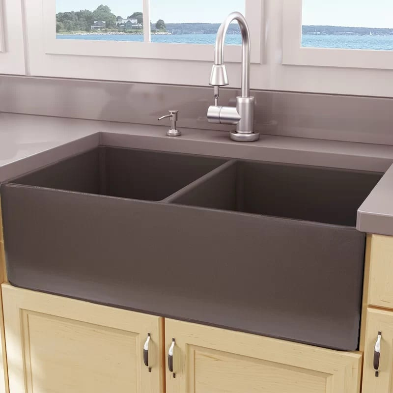 Nantucket Sinks Cape Double Basin Farmhouse Kitchen Sink 33 Inch