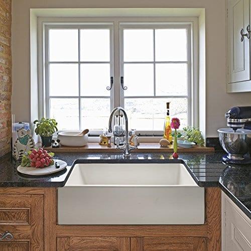 """Ostia Fireclay Farmhouse White Reversible Kitchen Sink, 24"""""""