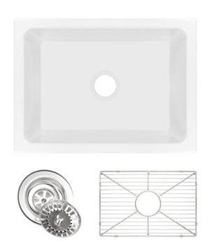 Ostia 24 Fireclay Farmhouse Apron White Reversible Kitchen Sink 0 300x360