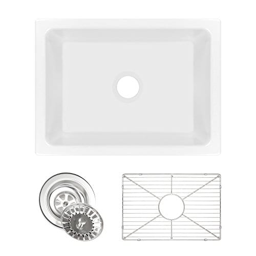 Ostia 24 Fireclay Farmhouse Apron White Reversible Kitchen Sink 0