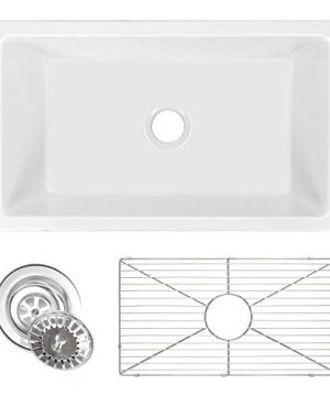 Ostia 30 Fireclay Farmhouse Apron White Reversible Kitchen Sink 0 300x360