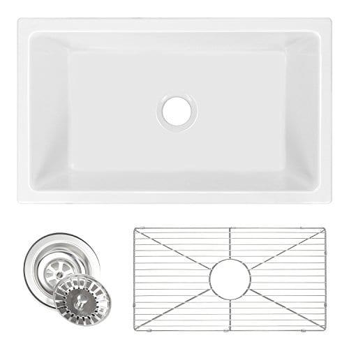 Ostia 30 Fireclay Farmhouse Apron White Reversible Kitchen Sink 0