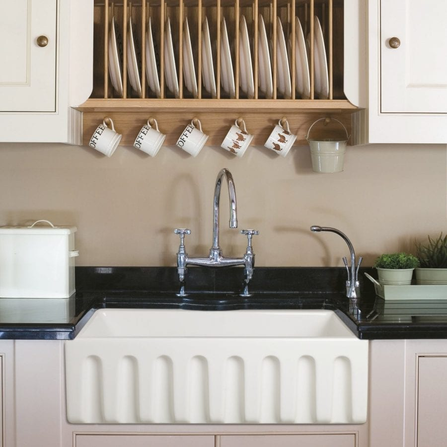 Ostia 30 Fireclay Farmhouse Apron White Reversible Kitchen Sink