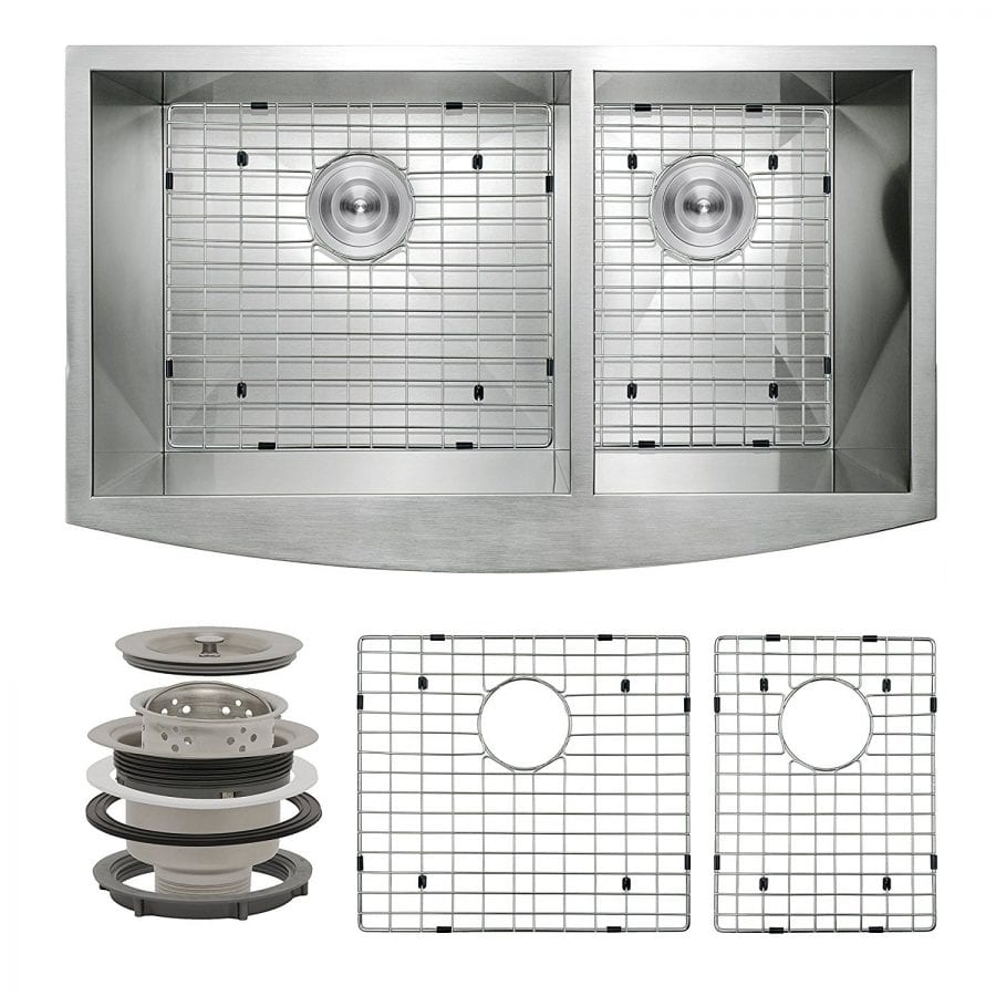 Perfetto Kitchen and Bath 33 Apron Undermount 60-40 Double Bowl 18 Gauge Stainless Steel Kitchen Sink with Drain and Dish Grid
