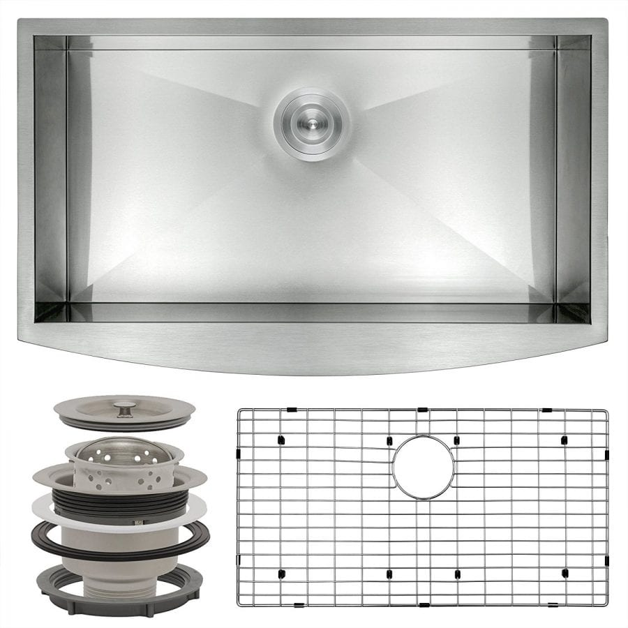 Perfetto Kitchen and Bath 33 Handmade Apron Undermount Single Bowl 18 Gauge Stainless Steel Kitchen Sink with Drain and Dish Grid