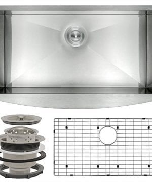 Perfetto Kitchen And Bath 33 X 20 X 9 Handmade Apron Undermount Single Bowl 18 Gauge Stainless Steel Kitchen Sink With Drain And Dish Grid 0 300x360