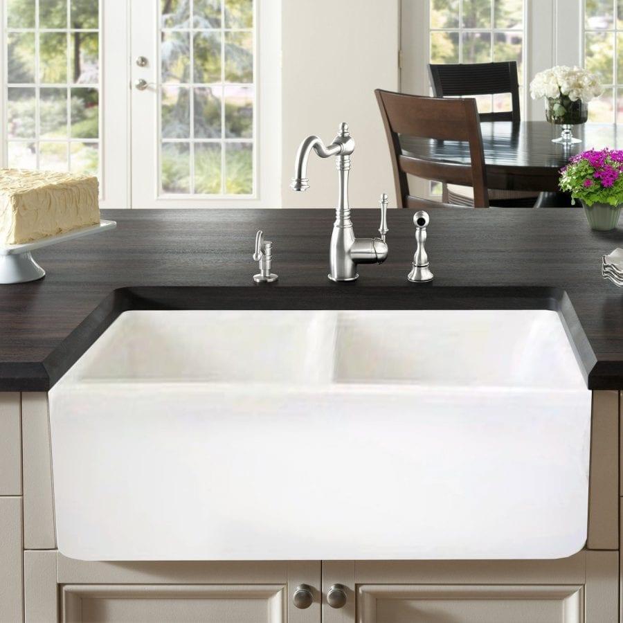 Renaissance Farmhouse Kitchen Sink 33 Inch Fireclay Double Bowl