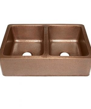 Rockwell Farmhouse Apron Front Handmade Pure Solid Copper 33 In Double Bowl Copper Kitchen Sink In Antique Copper 0 300x360