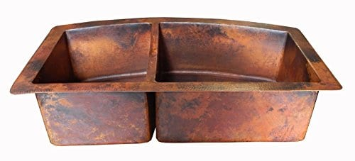 Rounded Apron Front Farmhouse Kitchen Double Bowl Mexican Copper Sink 6040 33X22 Inches 0 0