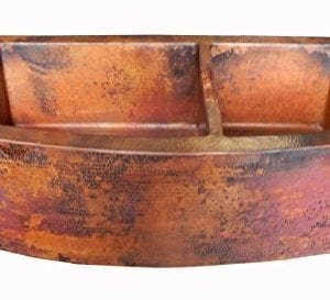 Rounded Apron Front Farmhouse Kitchen Double Bowl Mexican Copper Sink 6040 33X22 Inches 0 300x273