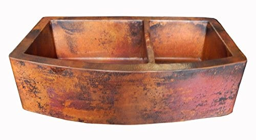 Rounded Apron Front Farmhouse Kitchen Double Bowl Mexican Copper Sink 6040 33X22 Inches 0