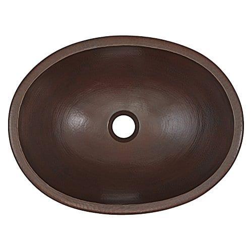 Sinkology BOU 1713BC Schrodinger Undermount Handmade Pure Solid Bathroom Sink 17 Aged Copper 0 0
