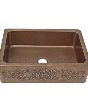 Sinkology SK303 33SC Farmhouse Ganku Farmhouse Copper Sink 33 In Single Bowl Copper Kitchen Sink With Scroll Design 0 0 300x360
