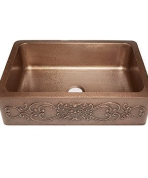 Sinkology SK303 33SC Farmhouse Ganku Farmhouse Copper Sink 33 In Single Bowl Copper Kitchen Sink With Scroll Design 0 300x360