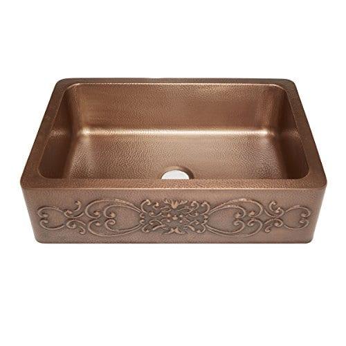Sinkology SK303 33SC Farmhouse Ganku Farmhouse Copper Sink 33 In Single Bowl Copper Kitchen Sink With Scroll Design 0
