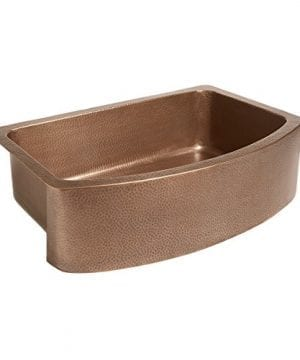 Sinkology SK304 33B Ernst Farmhouse Apron Handmade Pure Bow Front Single Bowl Sink 33 Antique Copper 0 1 300x360