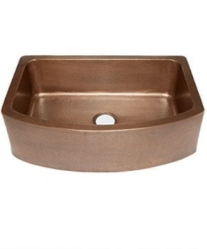 Sinkology SK304 33B Ernst Farmhouse Apron Handmade Pure Bow Front Single Bowl Sink 33 Antique Copper 0 300x360