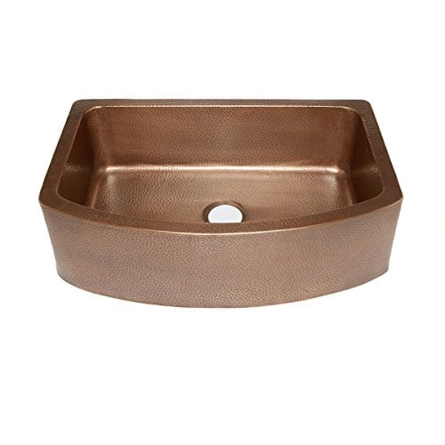 Sinkology SK304 33B Ernst Farmhouse Apron Handmade Pure Bow Front Single Bowl Sink 33 Antique Copper 0
