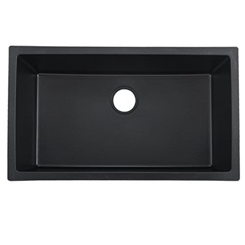 VCCUCINE Best Modern Commercial 33 Inch Undermount Single Bowl Black Onyx Granite Kitchen Sink Including Sink Drain Assembly And Roll Up Dish Drying Rack 0 0
