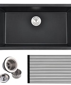 VCCUCINE Best Modern Commercial 33 Inch Undermount Single Bowl Black Onyx Granite Kitchen Sink Including Sink Drain Assembly And Roll Up Dish Drying Rack 0 300x360