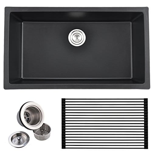 VCCUCINE Best Modern Commercial 33 Inch Undermount Single Bowl Black Onyx Granite Kitchen Sink Including Sink Drain Assembly And Roll Up Dish Drying Rack 0