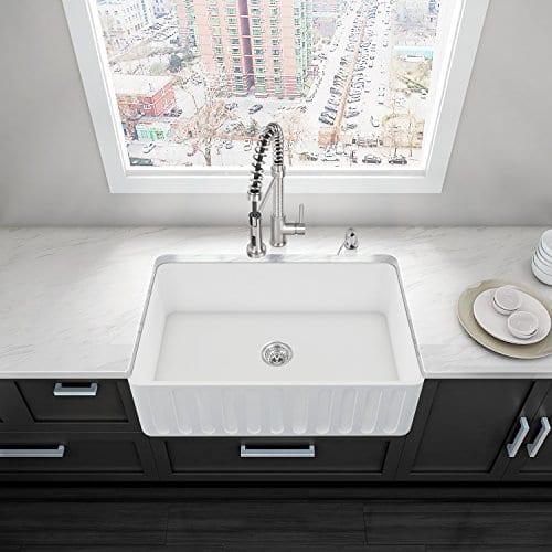 VIGO 33 Inch Farmhouse Apron Single Bowl Matte Stone Kitchen Sink 0 0