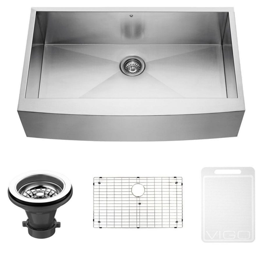 VIGO 36 inch Farmhouse Apron Single Bowl 16 Gauge Stainless Steel Kitchen Sink with Grid and Strainer