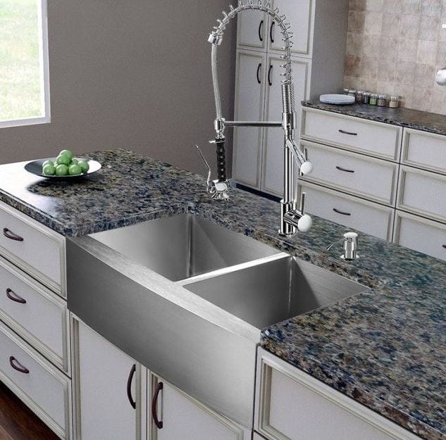 Vigo all in one 36 bingham stainless steel double bowl farmhouse sink