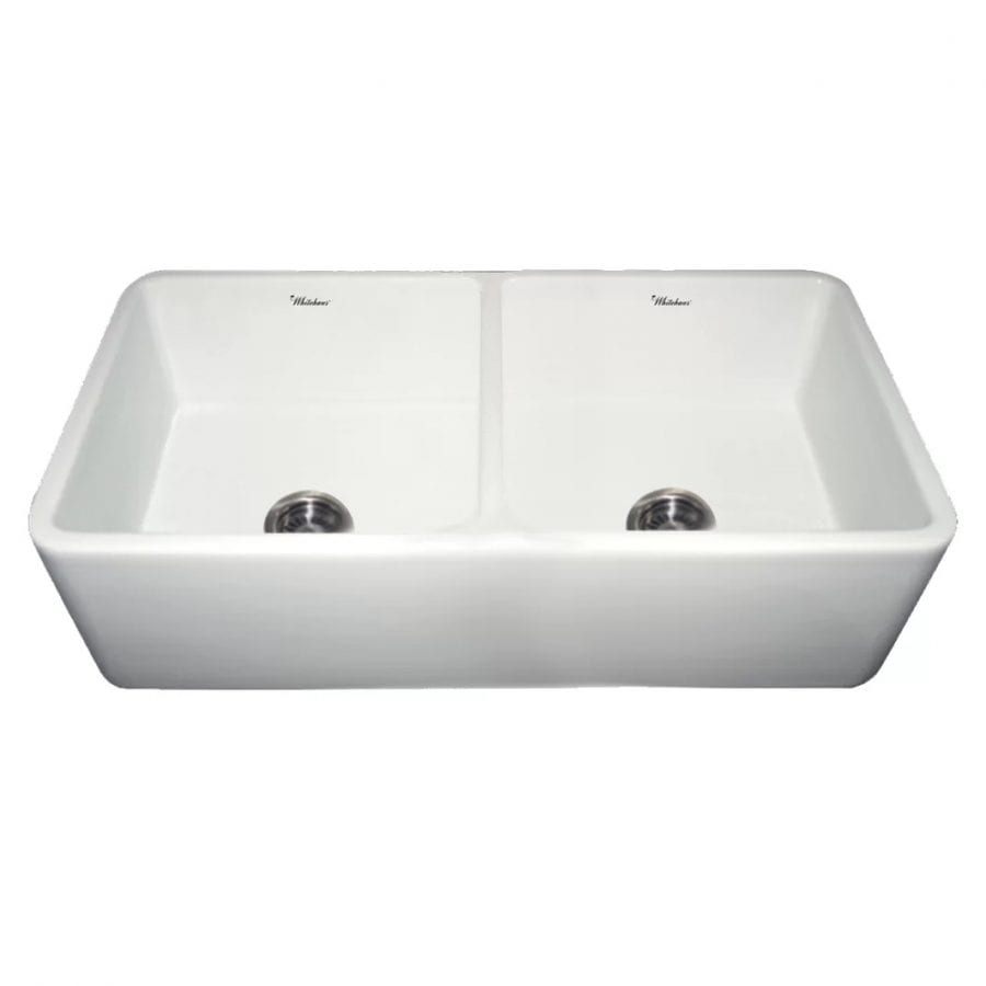 Whitehaus Collection Fireclay Reversible Double Bowl Kitchen Sink - 36 Inches